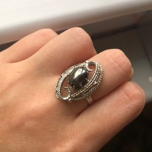 Silver and gun metal ring